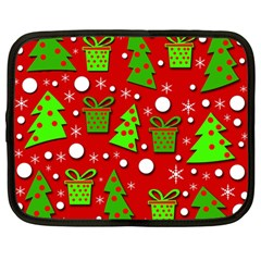 Christmas trees and gifts pattern Netbook Case (Large)