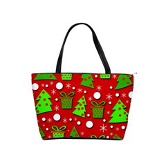 Christmas trees and gifts pattern Shoulder Handbags