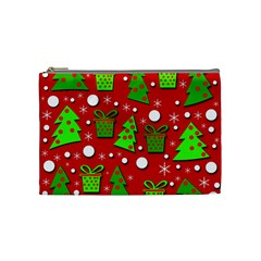 Christmas trees and gifts pattern Cosmetic Bag (Medium)