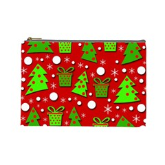 Christmas trees and gifts pattern Cosmetic Bag (Large)