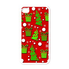 Christmas trees and gifts pattern Apple iPhone 4 Case (White)