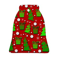 Christmas trees and gifts pattern Ornament (Bell)