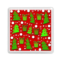 Christmas trees and gifts pattern Memory Card Reader (Square)