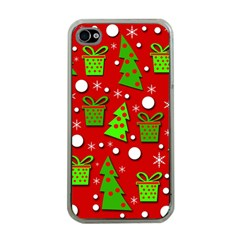 Christmas trees and gifts pattern Apple iPhone 4 Case (Clear)