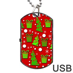 Christmas trees and gifts pattern Dog Tag USB Flash (Two Sides)