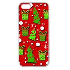 Christmas trees and gifts pattern Apple Seamless iPhone 5 Case (Clear)