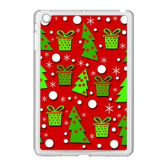 Christmas trees and gifts pattern Apple iPad Mini Case (White)