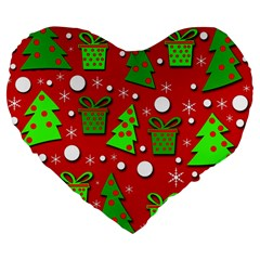 Christmas trees and gifts pattern Large 19  Premium Heart Shape Cushions