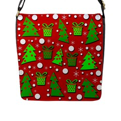 Christmas trees and gifts pattern Flap Messenger Bag (L)