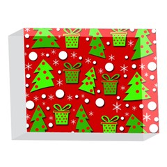 Christmas trees and gifts pattern 5 x 7  Acrylic Photo Blocks