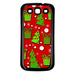 Christmas trees and gifts pattern Samsung Galaxy S3 Back Case (Black)