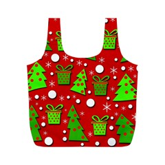 Christmas trees and gifts pattern Full Print Recycle Bags (M)