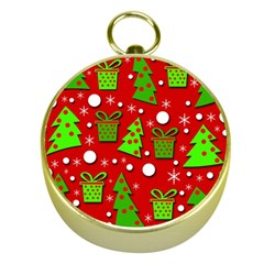 Christmas trees and gifts pattern Gold Compasses