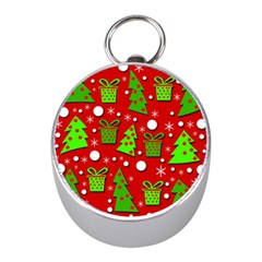 Christmas trees and gifts pattern Mini Silver Compasses
