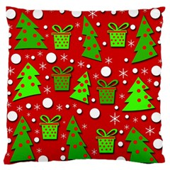 Christmas trees and gifts pattern Standard Flano Cushion Case (One Side)