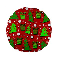 Christmas trees and gifts pattern Standard 15  Premium Flano Round Cushions