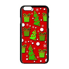 Christmas trees and gifts pattern Apple iPhone 6/6S Black Enamel Case