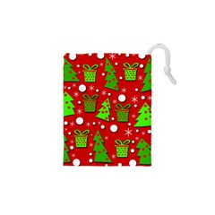 Christmas trees and gifts pattern Drawstring Pouches (XS)