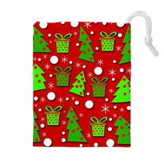 Christmas trees and gifts pattern Drawstring Pouches (Extra Large)