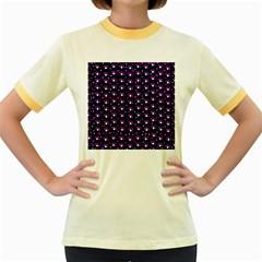 Purple dots pattern Women s Fitted Ringer T-Shirts