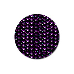 Purple dots pattern Magnet 3  (Round)