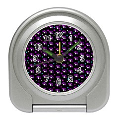 Purple dots pattern Travel Alarm Clocks