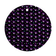 Purple dots pattern Round Ornament (Two Sides)