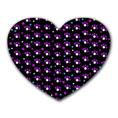 Purple dots pattern Heart Mousepads