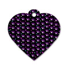 Purple dots pattern Dog Tag Heart (Two Sides)