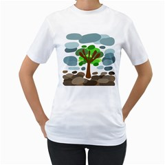 Tree Women s T-Shirt (White) (Two Sided)