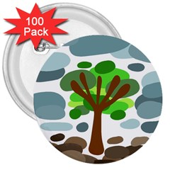 Tree 3  Buttons (100 pack)
