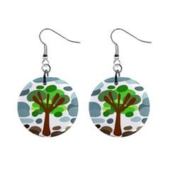 Tree Mini Button Earrings