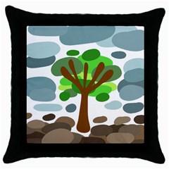 Tree Throw Pillow Case (Black)