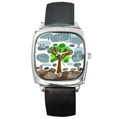 Tree Square Metal Watch