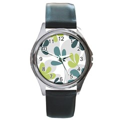 Elegant floral design Round Metal Watch
