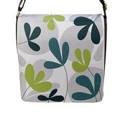 Elegant floral design Flap Messenger Bag (L)