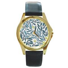 Blue floral design Round Gold Metal Watch
