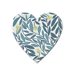 Blue floral design Heart Magnet