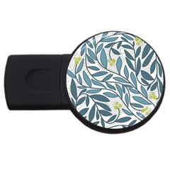 Blue floral design USB Flash Drive Round (2 GB)