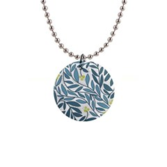 Blue floral design Button Necklaces