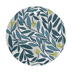 Blue floral design Round Ornament (Two Sides)