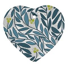 Blue floral design Heart Ornament (2 Sides)