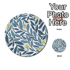 Blue floral design Multi-purpose Cards (Round)