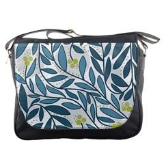 Blue floral design Messenger Bags