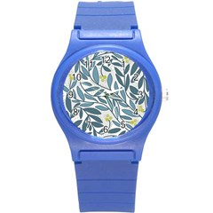 Blue floral design Round Plastic Sport Watch (S)