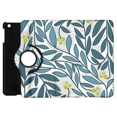 Blue floral design Apple iPad Mini Flip 360 Case