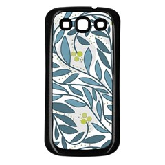Blue floral design Samsung Galaxy S3 Back Case (Black)