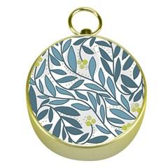 Blue floral design Gold Compasses