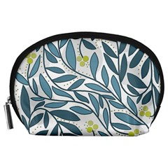 Blue floral design Accessory Pouches (Large)