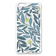Blue floral design Apple iPhone 6 Plus/6S Plus Enamel White Case
